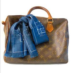 Louis Vuitton Silk Floor Plan Scarf Bandana blue